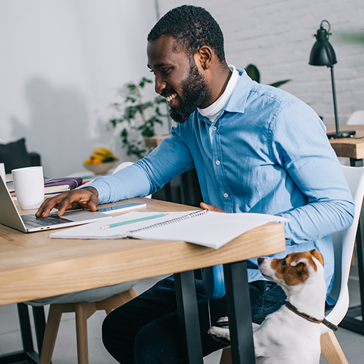 Businessman working on laptop and dog standing near.